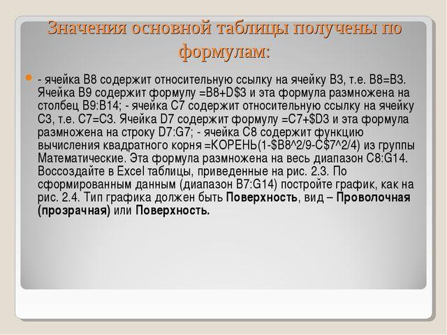 Значения основной таблицы получены по формулам: - ячейка B8 содержит относите...