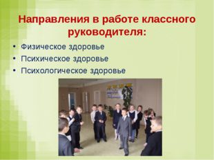 Направления в работе классного руководителя: Физическое здоровье Психическое