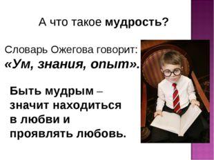А что такое мудрость? Словарь Ожегова говорит: «Ум, знания, опыт». Быть мудры