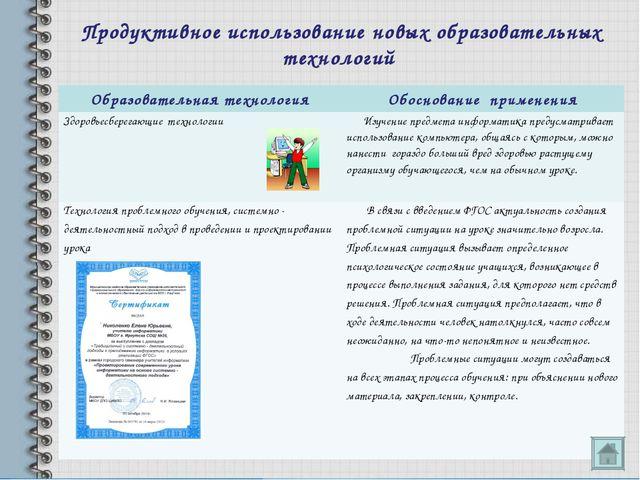 Продуктивное использование новых образовательных технологий Образовательная т...