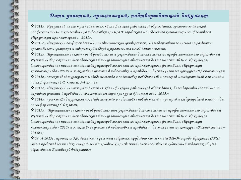 Дата участия, организация, подтверждающий документ 2011г., Иркутский институт...