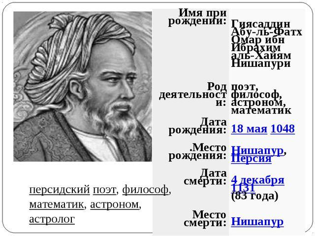персидский поэт, философ, математик, астроном, астролог Имя при рождении:Гия...