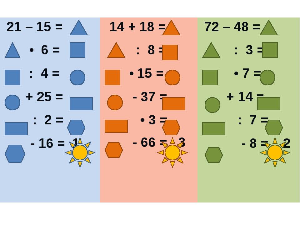 21 – 15 = • 6 = : 4 = + 25 = : 2 = - 16 =1 14 + 18 = : 8 = •15 = - 37 = •3 =...