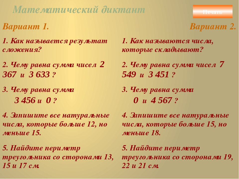 Математический диктант Печать Вариант 1. Вариант 2. 1. Как называется результ...