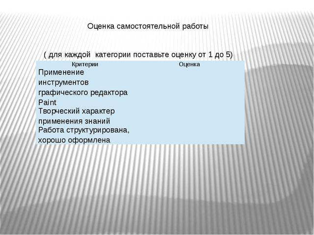 Оценка самостоятельной работы ( для каждой категории поставьте оценку от 1 д...