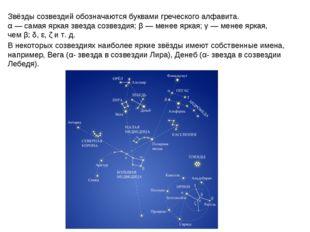 Звёзды созвездий обозначаются буквами греческого алфавита. α— самая яркая зв