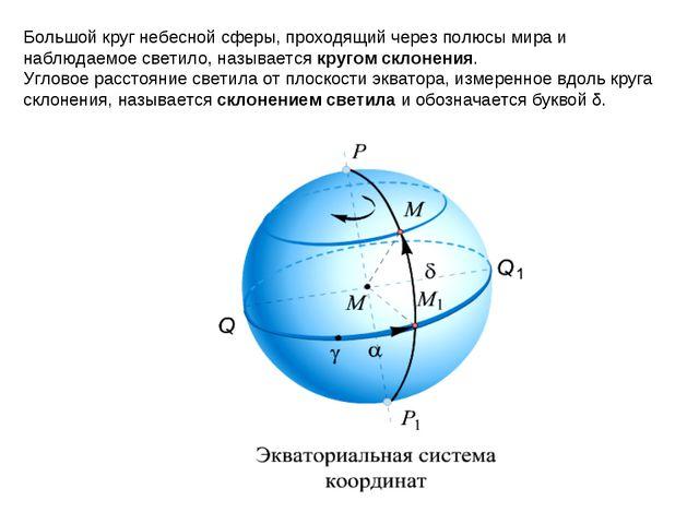 Большой круг небесной сферы, проходящий через полюсы мира и наблюдаемое свети...