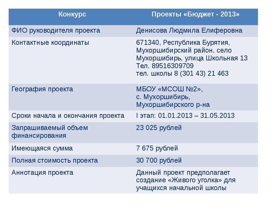 Конкурс Проекты «Бюджет - 2013» ФИО руководителя проекта Денисова ЛюдмилаЕлиф...