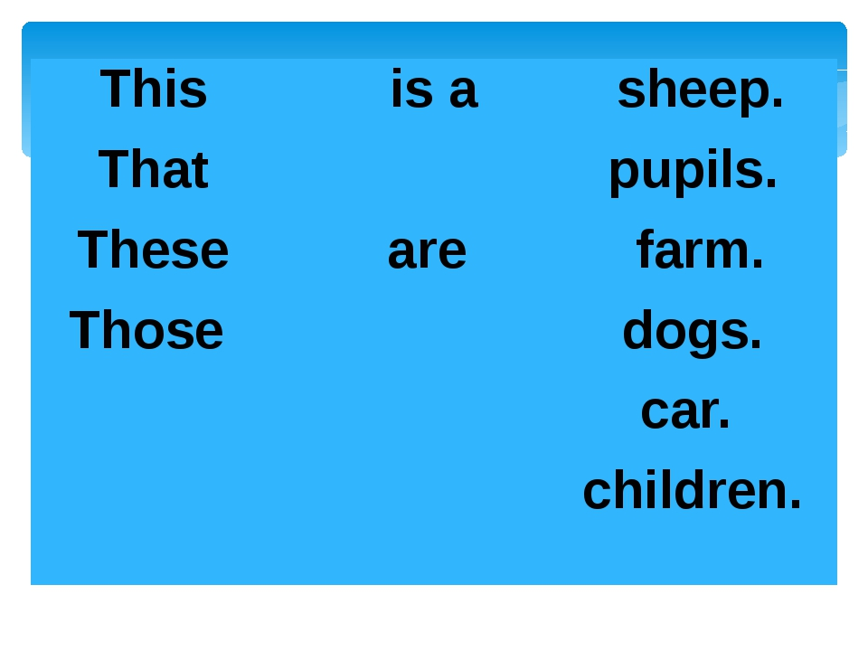 This That These Those is a   are sheep. pupils. farm. dogs. car. children.