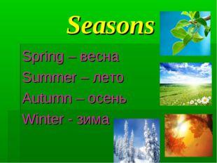 Seasons Spring – весна Summer – лето Autumn – осень Winter - зима