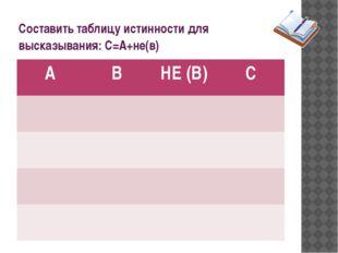 Составить таблицу истинности для высказывания: С=А+не(в) А В НЕ (В) С