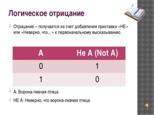 Логическое отрицание Отрицание – получается за счет добавления приставки «НЕ»