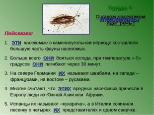 Вопрос 6: О каком насекомом идет речь? Ответ: тараканы Подсказки: ЭТИ насеком