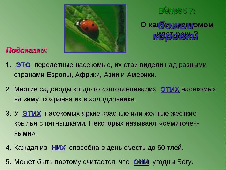 Вопрос 7: О каком насекомом идет речь? Ответ: божьи коровки Подсказки: ЭТО пе...