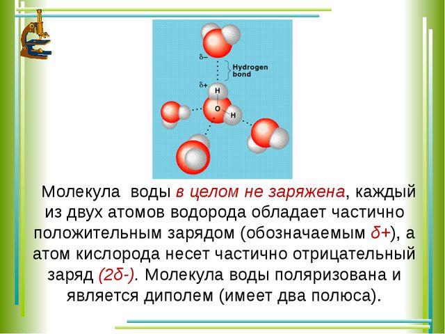 Молекула воды в целом не заряжена, каждый из двух атомов водорода обладает ча...