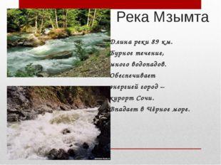 Река Мзымта Длина реки 89 км. Бурное течение, много водопадов. Обеспечивает э