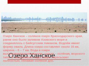 Озеро Ханское Озеро Ханское – соляное озеро Краснодарского края, ранее оно бы