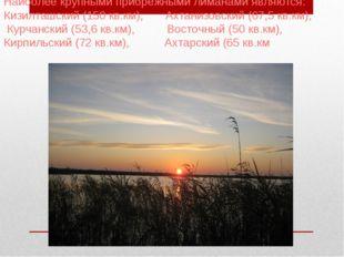 Наиболее крупными прибрежными лиманами являются: Кизилташский (150 кв.км), А