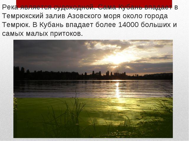 Река является судоходной. Сама Кубань впадает в Темрюкский залив Азовского мо...