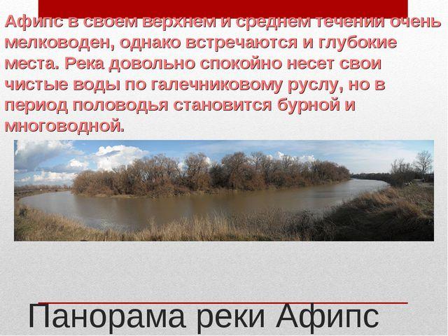 Панорама реки Афипс Афипс в своем верхнем и среднем течении очень мелководен,...