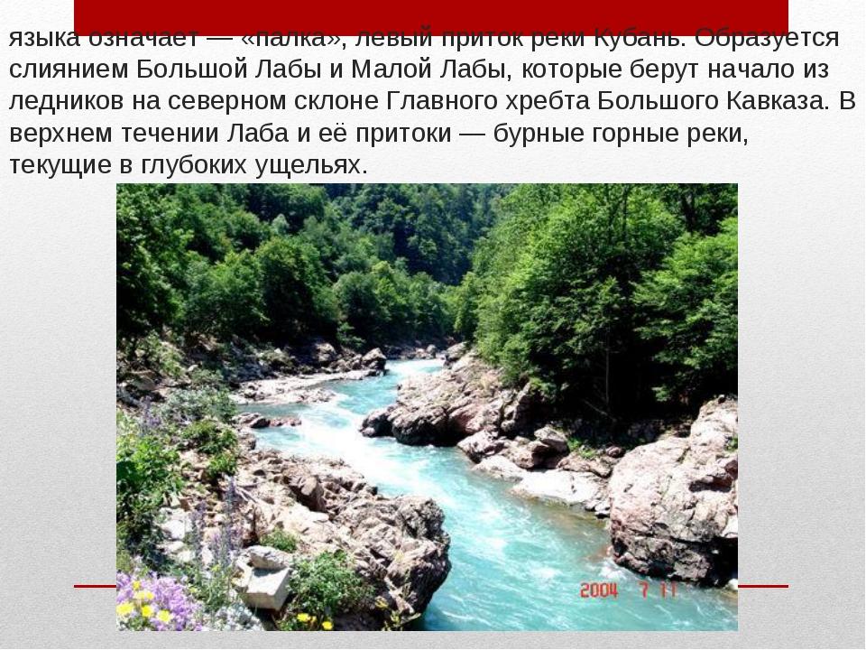 Лаба́— река на Северном Кавказе, в переводе с абазинского языка означает— «...