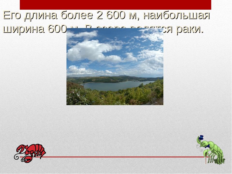 Его длина более 2 600м, наибольшая ширина 600м. В озере водятся раки.