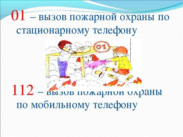 01 – вызов пожарной охраны по стационарному телефону 112 – вызов пожарной охр...