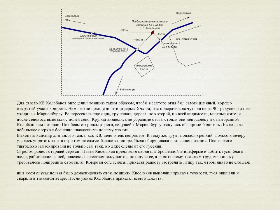Для своего КВ Колобанов определил позицию таким образом, чтобы в секторе огн...