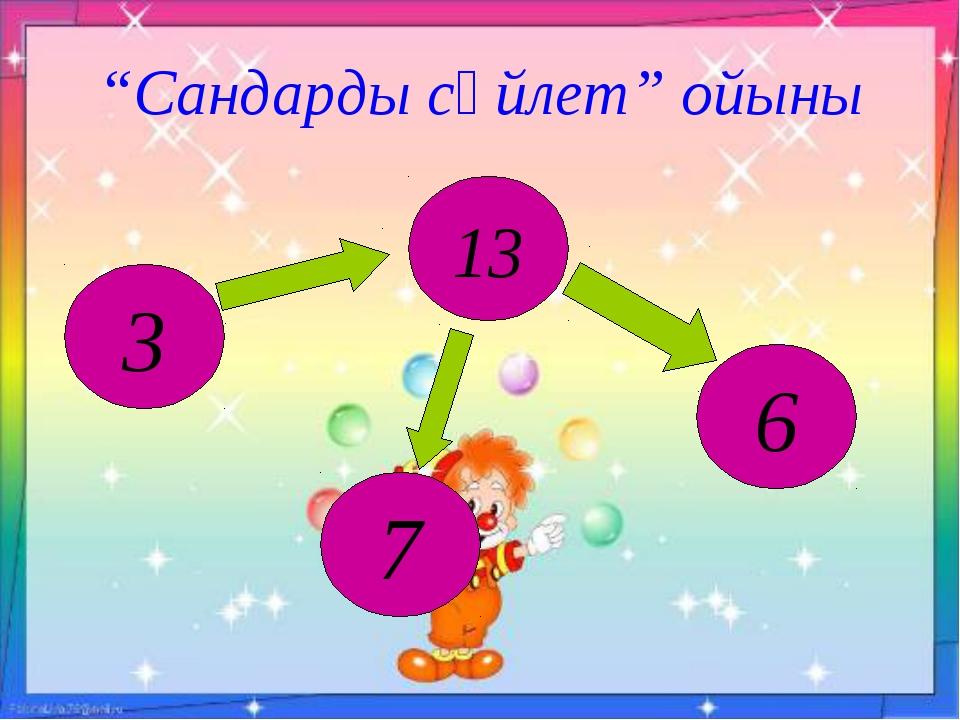 """""""Сандарды сөйлет"""" ойыны 13 6 7 3"""