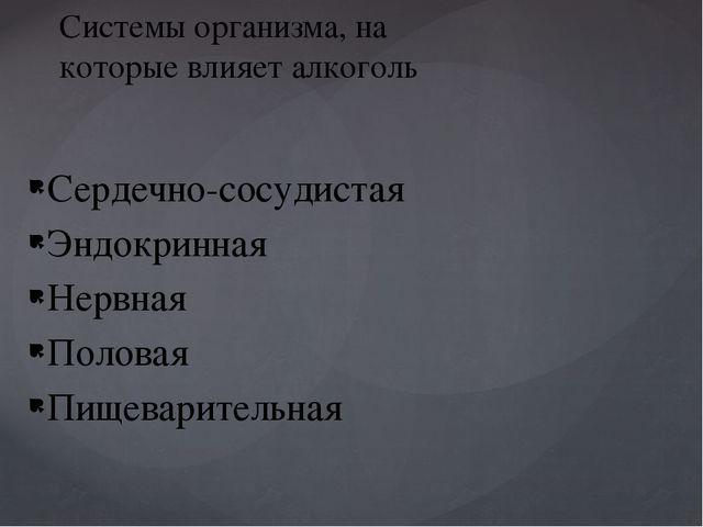 Сердечно-сосудистая Эндокринная Нервная Половая Пищеварительная Системы орган...