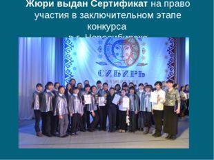 Жюри выдан Сертификат на право участия в заключительном этапе конкурса в г. Н