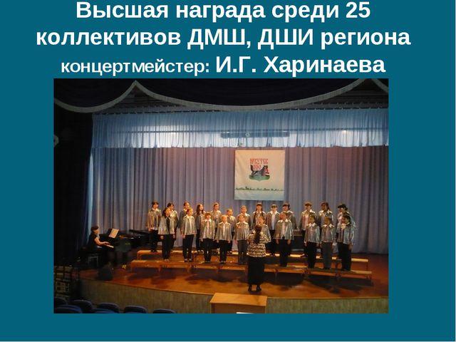 Высшая награда среди 25 коллективов ДМШ, ДШИ региона концертмейстер: И.Г. Хар...