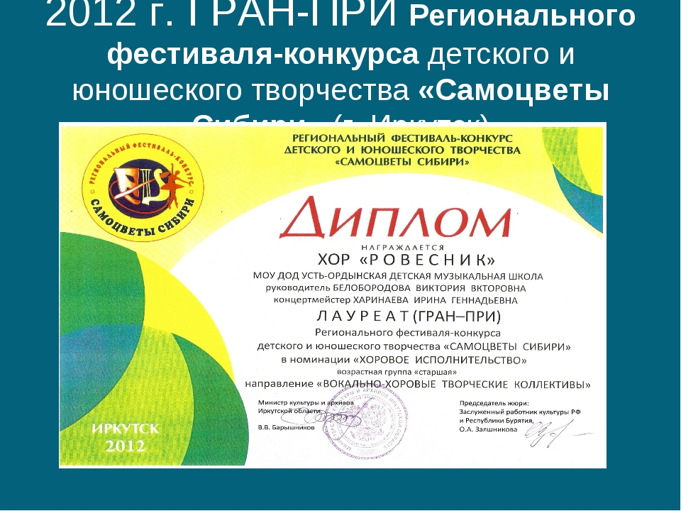 2012 г. ГРАН-ПРИ Регионального фестиваля-конкурса детского и юношеского творч...