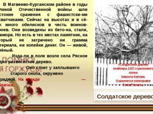В Матвеево-Курганском районе в годы Великой Отечественной войны шли жестокие