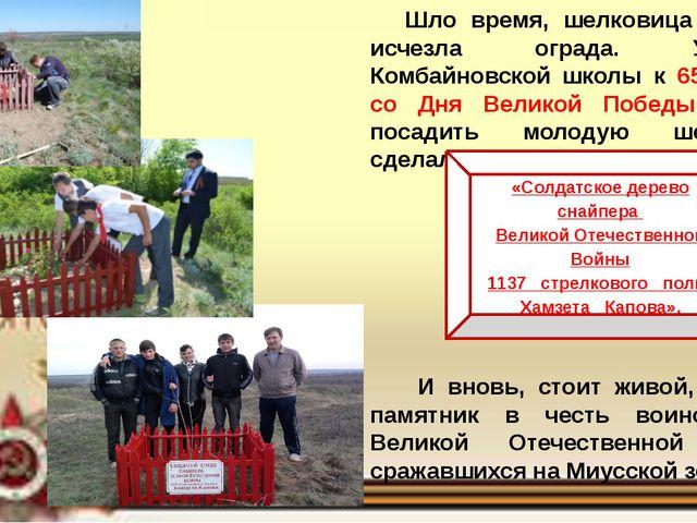 Шло время, шелковица погибла, исчезла ограда. Учащиеся Комбайновской школы к...