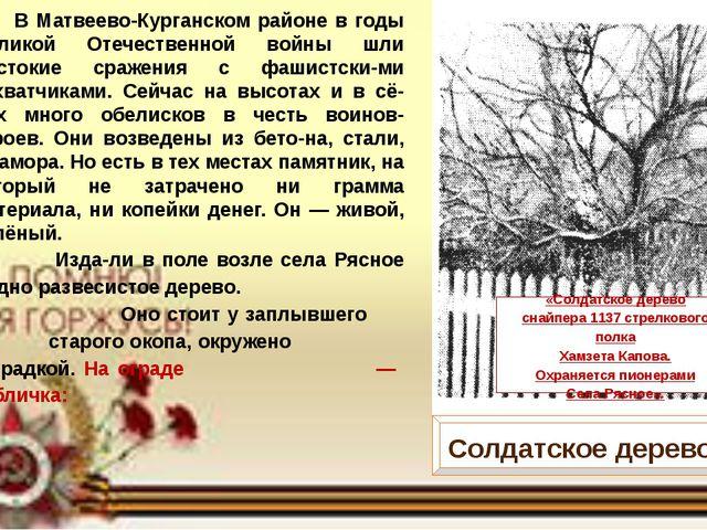 В Матвеево-Курганском районе в годы Великой Отечественной войны шли жестокие...