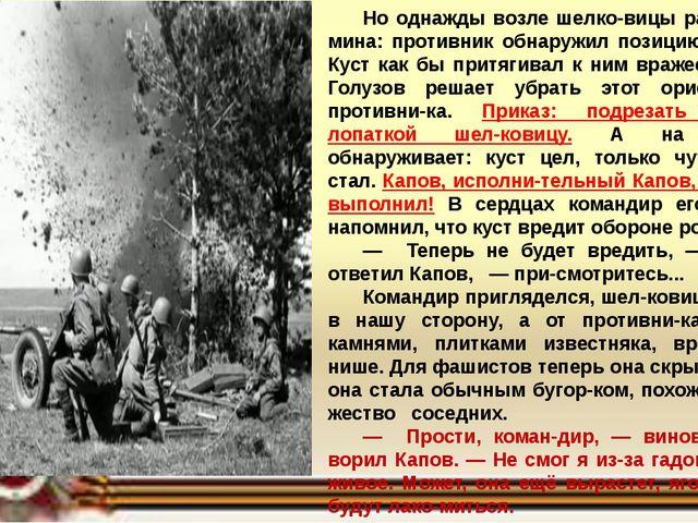 Но однажды возле шелковицы разорвалась мина: противник обнаружил позицию сна...