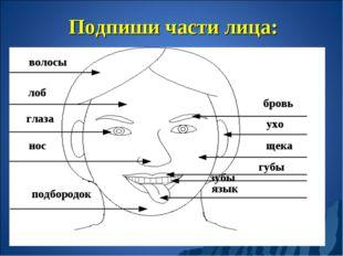 Подпиши части лица: волосы лоб глаза нос бровь ухо щека губы зубы язык подбор