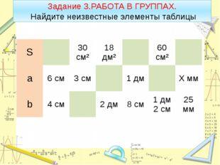 Задание 3.РАБОТА В ГРУППАХ. Найдите неизвестные элементы таблицы S 30 см² 18