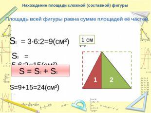 Нахождение площади сложной (составной) фигуры Площадь всей фигуры равна сумме