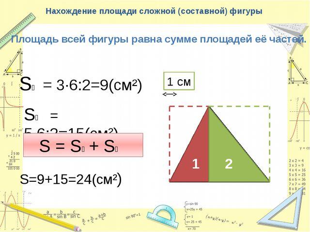 Нахождение площади сложной (составной) фигуры Площадь всей фигуры равна сумме...