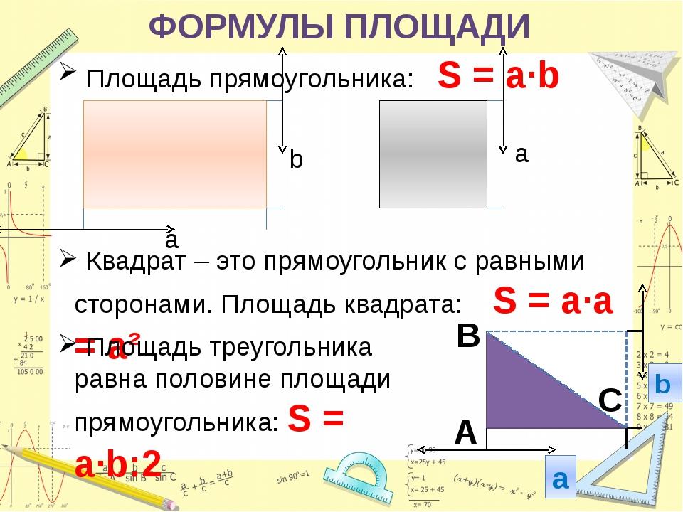 ФОРМУЛЫ ПЛОЩАДИ Площадь прямоугольника: S = a·b b a Квадрат – это прямоугольн...