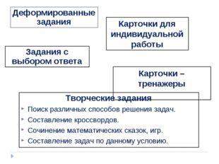 Карточки для индивидуальной работы Задания с выбором ответа Деформированные з