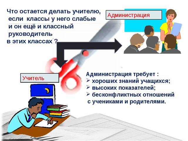 Учитель Администрация Администрация требует : хороших знаний учащихся; высоки...