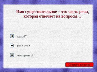 Имя существительное – это часть речи, которая отвечает на вопросы… кто? что?
