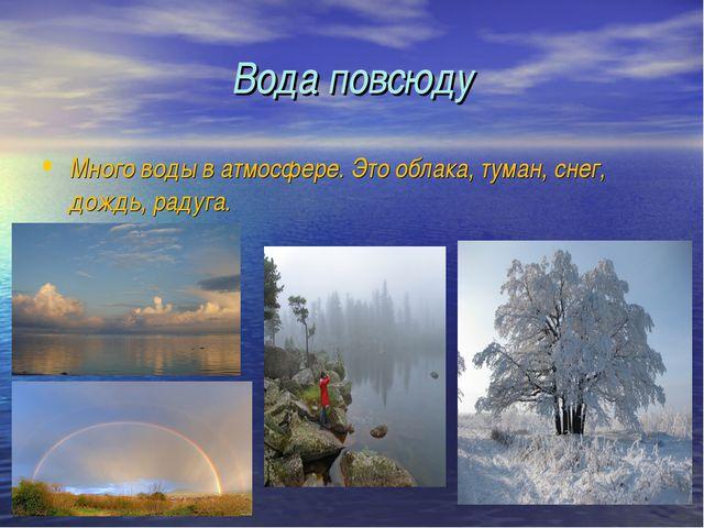 Вода повсюду Много воды в атмосфере. Это облака, туман, снег, дождь, радуга.