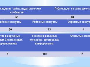 Публикации на сайтах педагогических сообществ Публикации на сайте школы 55 38