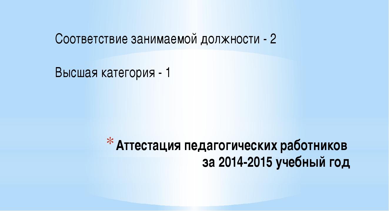 Аттестация педагогических работников за 2014-2015 учебный год Соответствие за...