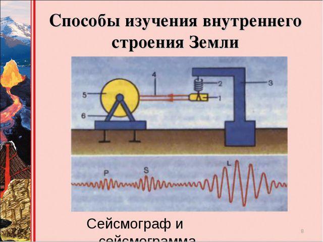 Способы изучения внутреннего строения Земли Сейсмограф и сейсмограмма *