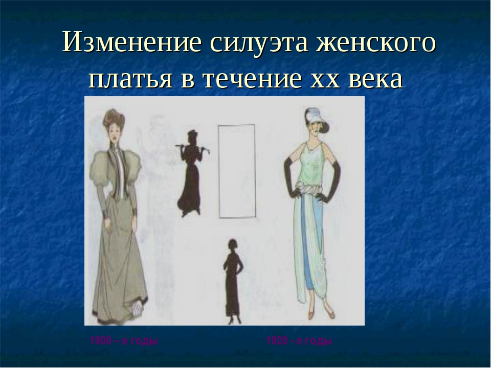 Изменение силуэта женского платья в течение хх века 1900 – е годы 1920 - е г...